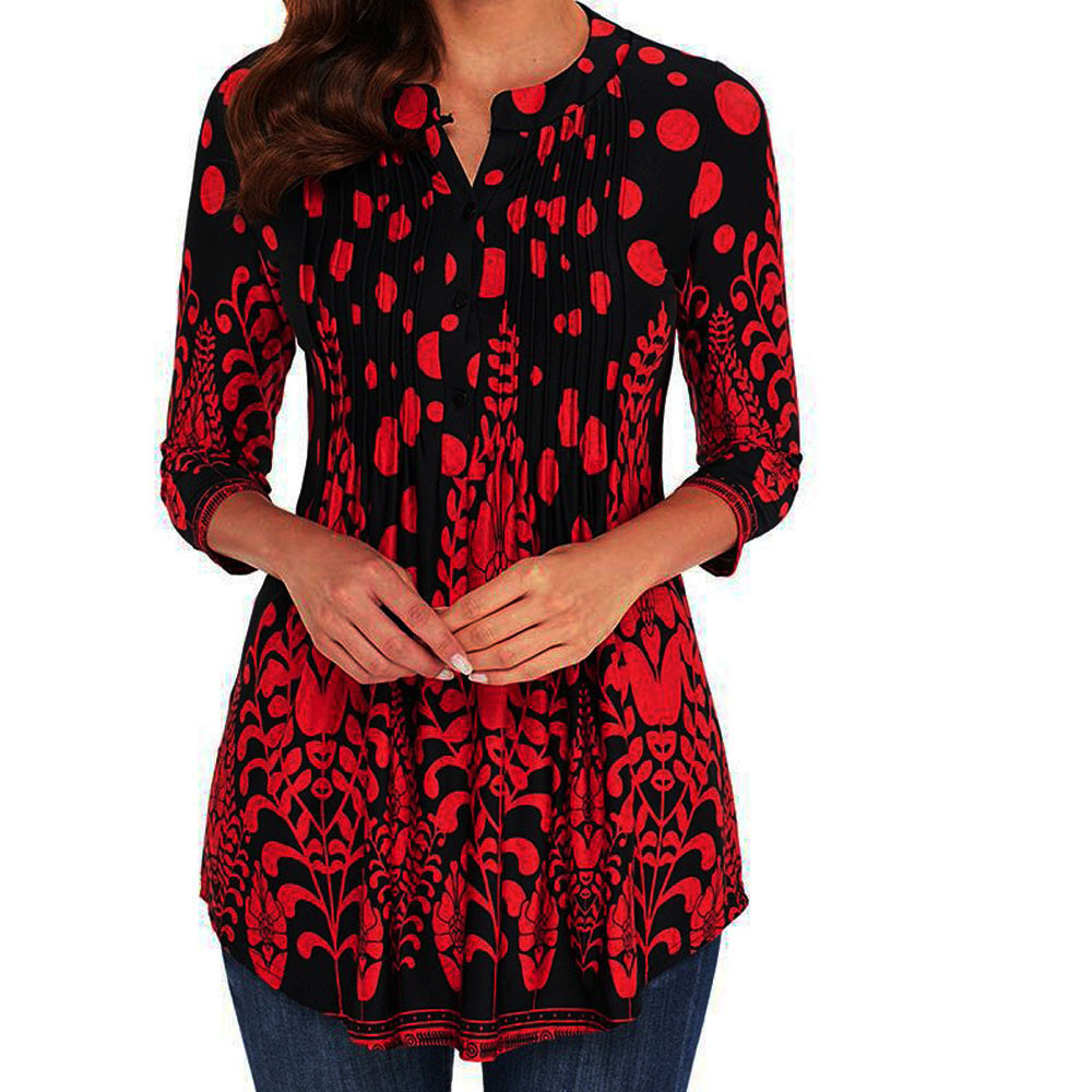 Women Three Quarter Sleeved Circular Neck Printed Tops Loose T-Shirt Womens Printed Round Neck Long Sleeve Top T-Shirt for women