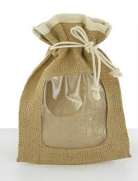 T09615X20cm 6X8Free ShippingCustom PVC Clear Window Jute Drawstring Burlap Bags WholesaleBurlap PouchCustom Acceptable In Shopping From