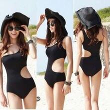 Sexy Womens One Shoulder One-Piece Suits Swimsuit Padded Bodycon Bikini Mesh Swim Suit Hollow Solid Black Beachwear