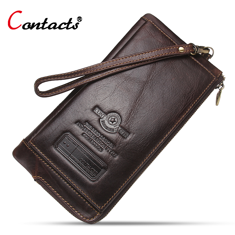 CONTACT'S Men Wallet Genuine Leather Wallet Long Purses Men Phone Holder Card Holder Zipper Money Bag Wallets Men Clutches Purse new arrival leather wallets men brand business long purses money bag credit card holder 2017 new zipper phone clutch wallet male