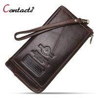 CONTACT S Men Wallet Genuine Leather Wallet Long Purses Men Phone Holder Card Holder Zipper Money