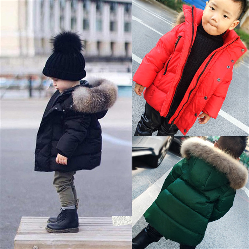 baby boys girls Fur down Coat Winter kids Raccoon Fox Fur Collar children Down Coat Outerwear Overcoat Parkas jacket az336 children winter coats jacket baby boys warm outerwear thickening outdoors kids snow proof coat parkas cotton padded clothes