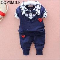 Autumn Baby Boys Clothes Bebes Suits Infant Newborn Clothes Sets Kids Vest Cart Plaid Shirt Jeans