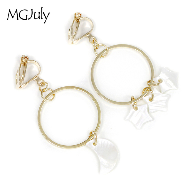 Natural S Star Moon Earrings No Ear Hole Metal Round Clip Earring Without Piercing Women