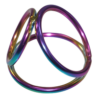 45 40 30mm Stainless Steel Titanium Anodized Penis Ring Rainbow Cock Ring Sex Toys