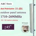 3G 4G antena de polarización dual estación AP antena 18dBi antena array sectorizado para FDD-LTE TD-LTE sector N-femenino