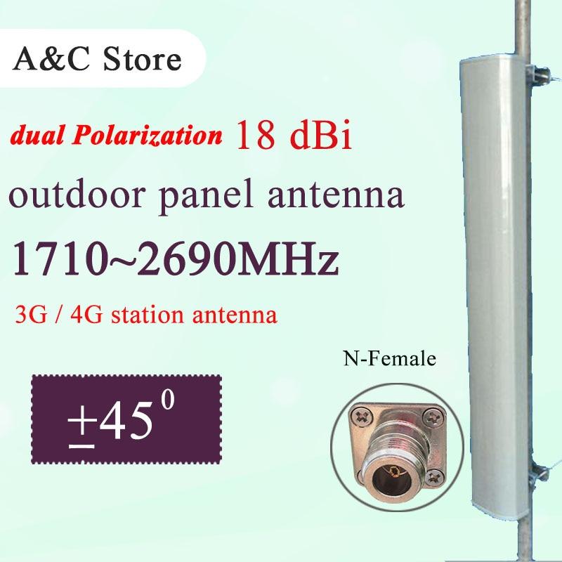 Antenne 3G 4G double station de polarisation antenne 18dBi sectored antenne de rangée pour TD-LTE FDD-LTE AP secteur n-femelle