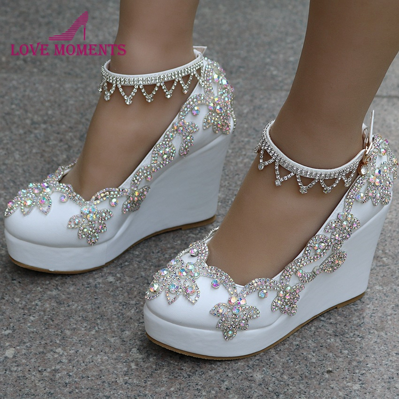 Handmade Luxury Crystal AB Color Bridal Shoes White Wedding High Heels 11cm Wedge Heel Party Prom