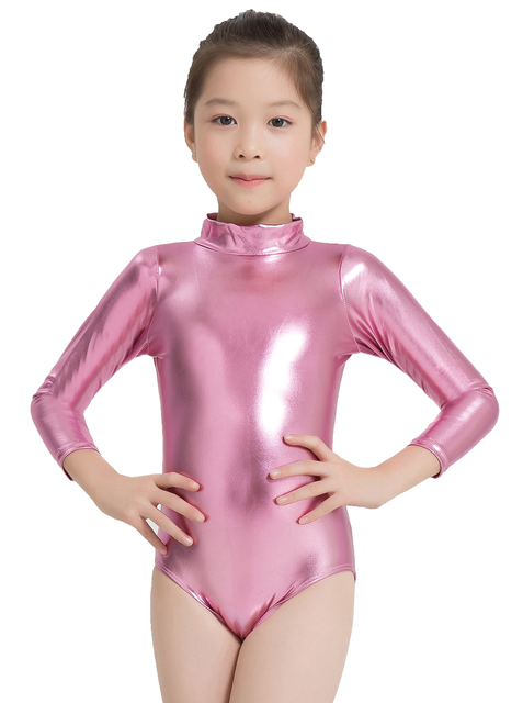 8af3794c2e78c Speerise Kids Turtleneck Shiny Lycra Gymnastics Leotard Costumes Ballet Dance  Long Sleeve Zip Up Metallic Tank Leotard