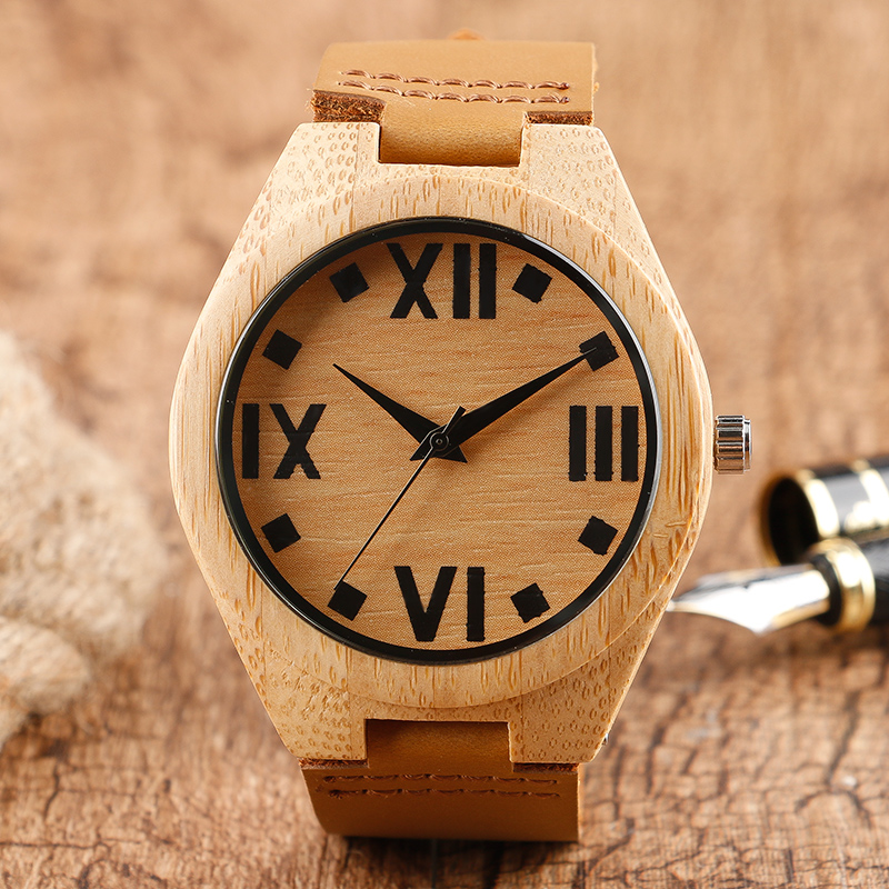 Unique Nature Hand-made Quartz Wood Watch Fashion Wooden Bamboo Wristwatches with Brown Genuine Leather Band for Men Women fashion nature wood quartz wrist watch genuine leather band bamboo pattern strap men women analog green light grey gift