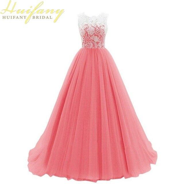Simple A line Largo Tul Prom Vestidos Joya Escote de Encaje Longitud ...