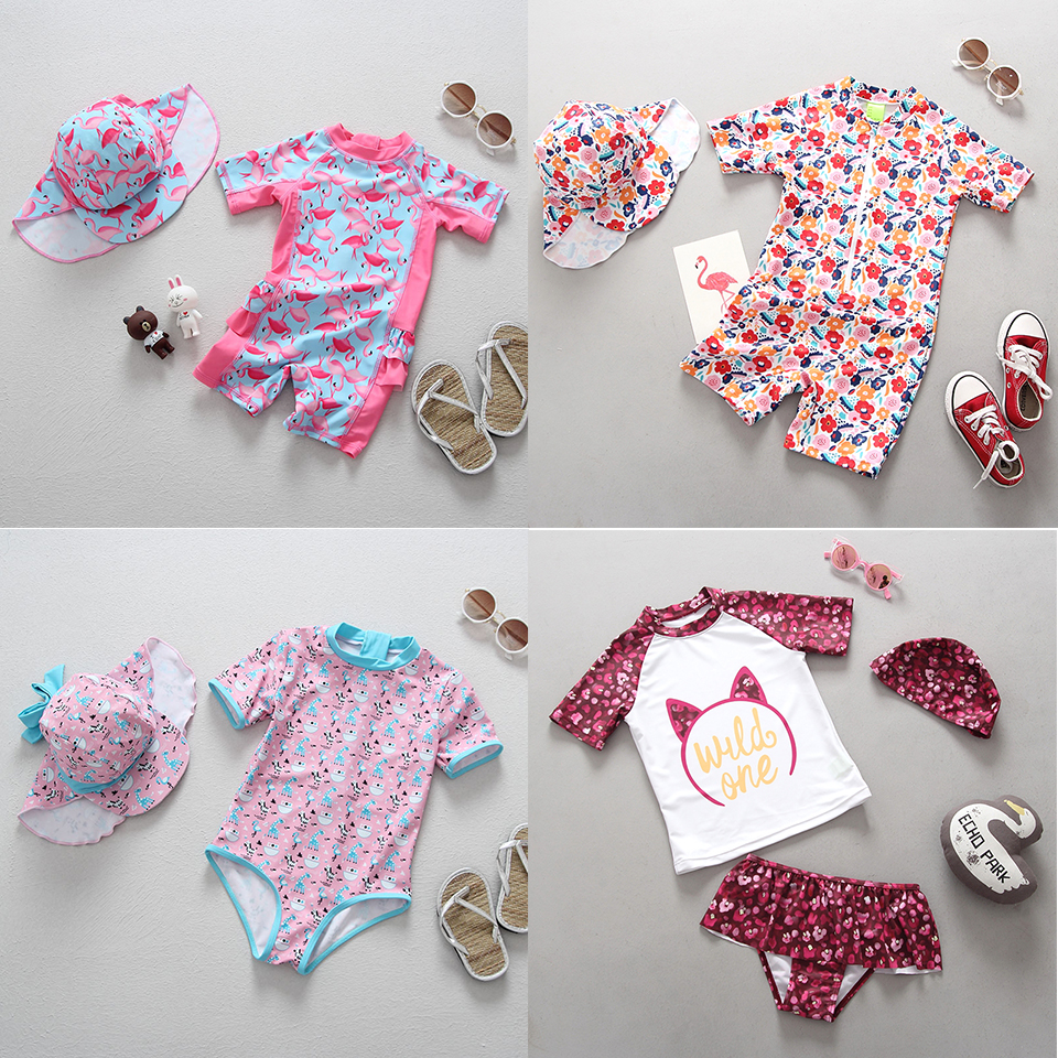 Baby Girl Swimwear 1-3 Years Newborn Baby Swimsuit One Piece Bathing Suit Flamingo Floral Printed Cartoon Swimsuits For Children
