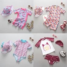 Baby Girl stroje kąpielowe 1 3 lat noworodka strój kąpielowy dla dzieci jednoczęściowy strój kąpielowy Flamingo Floral wydrukowano Cartoon stroje kąpielowe dla dzieci