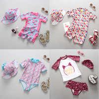 Baby Mädchen Bademode 1-3 Jahre Neugeborenen Baby Badeanzug One Piece Badeanzug Flamingo Floral Gedruckt Cartoon Badeanzüge für kinder