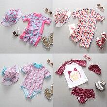 Swimwear del bambino Della Ragazza 1 3 Anni Del Bambino Appena Nato Costume Da Bagno di Un Pezzo Costume Da Bagno Flamingo Stampato Floreale Del Fumetto Costumi Da Bagno per bambini
