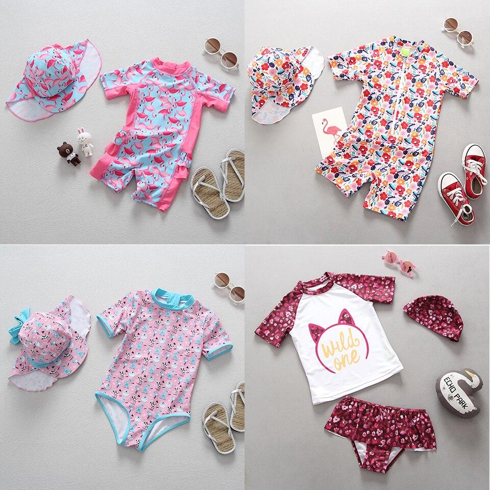 Roupa de Banho de Uma Maiô de Desenhos Animados para Crianças Roupa de Banho para Meninas de 1-3 Anos Maiô Recém-nascidos Peça Flamingo Estampa Floral Crianças