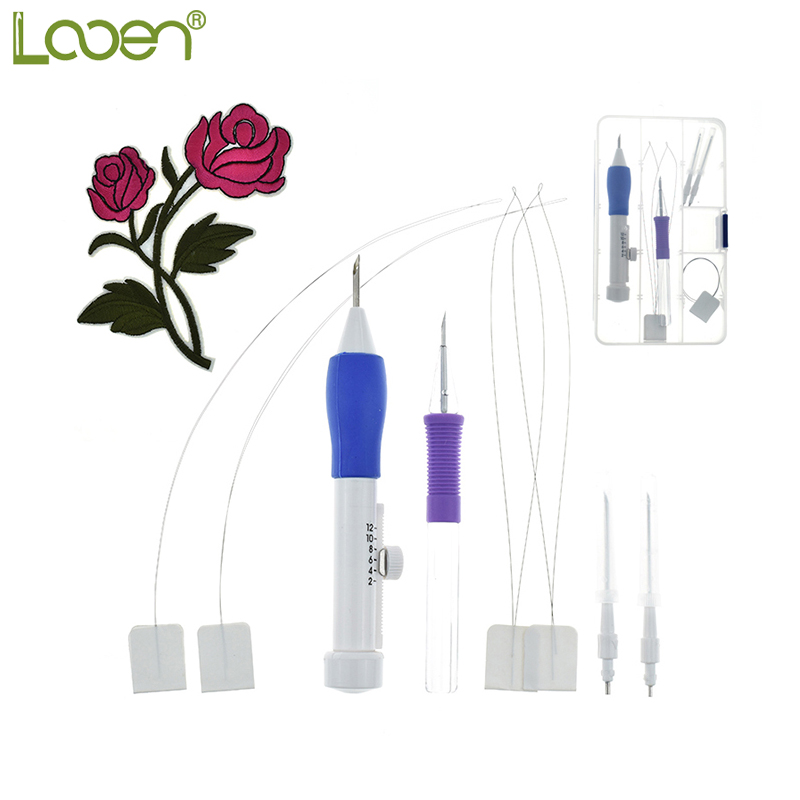 Looen Brand Punch Embroidery Needles Women Embroidery Stitching Punch Pen Set Craft Tool With Flower Patterns For DIY Sewing триш бурр вышивка