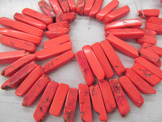 fashion 2strands 10x20 50mm turquoise beads sharp spikes bar column oranger red jewelry necklace 20 50mm 2strands 17inch