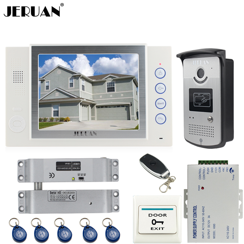 JERUAN NEW 8 inch TFT color video door phone Record intercom system kit 700TVL RFID Access IR Night Vision Camera 8GB SD CARD jeruan wired 8 inch tft color screen video door phone record intercom system 4 monitor full metal ir night vision camera
