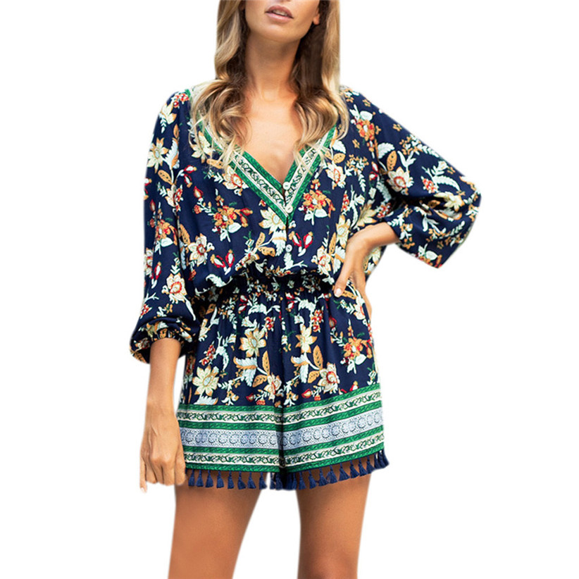 Summer holiday boho tassels jumpsuits women sexy v neck floral print three quater sleeve playsuit woman jumpsuit 90104