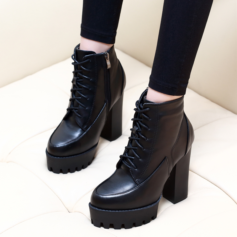 New Autumn Winter Women Fashion Ankle Boots High Quality Solid Lace-up Ladies Shoes Genuine Leather Boots Black CH-A0002 high quality full cow skin genuine leather flat casual ankle boots women 2016 black white lace up fashion autumn walking shoes
