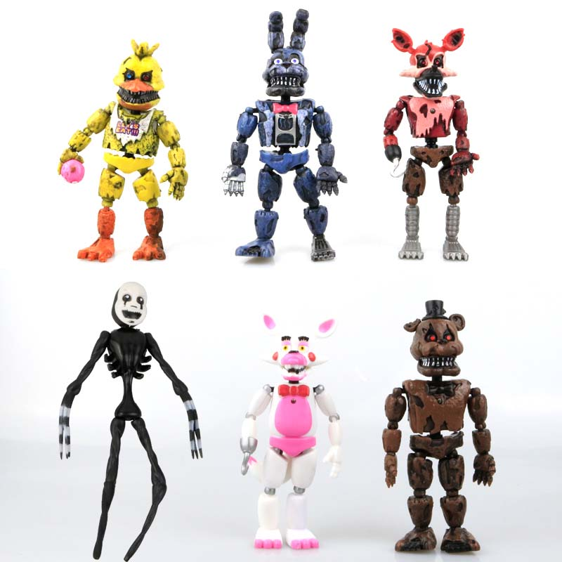 2017Hot !!! Nya 6 st / set Lightening rörliga leder Fem nätter på Freddy's Action Figurleksaker Foxy Freddy Chica Med barnleksaker