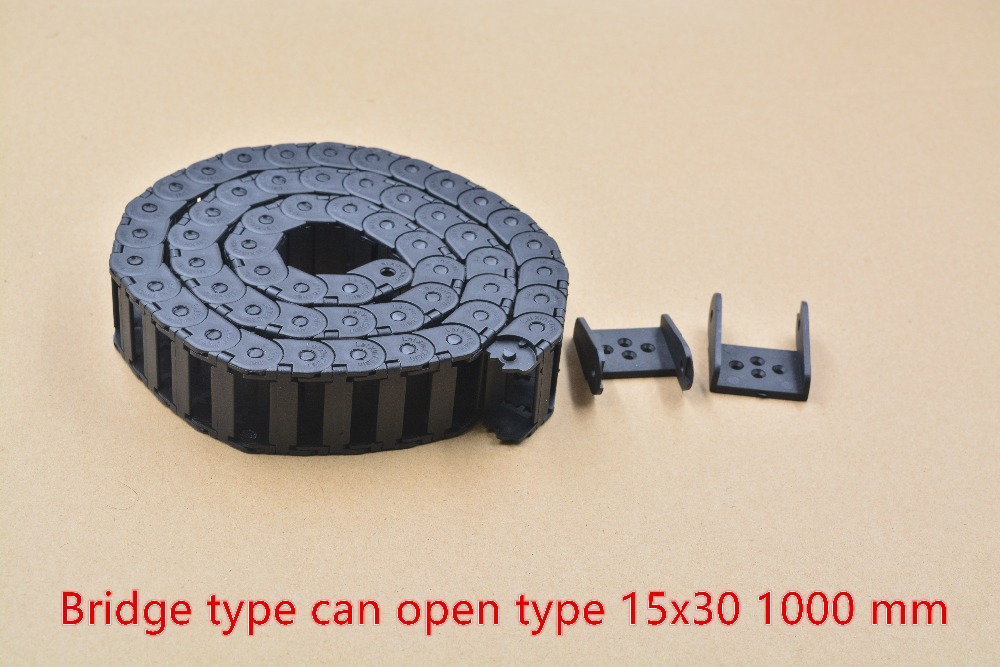 bridge type can open plastic 15mmx30mm drag chain with end connectors length 1000mm engraving machine cable