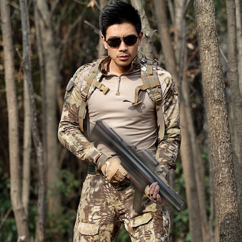 Military Suits Tactical T Shirt + Pant Men Hunter Combat Camouflage Clothes with Hats Belts Knee Pad Special Force CS Fight Sets - 3