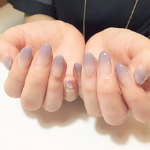 Фотография New 24pcs sexy nude purple Gradient color False Nail Art With Glue plain color Fake Nail Tip Finished manicure nail sticker