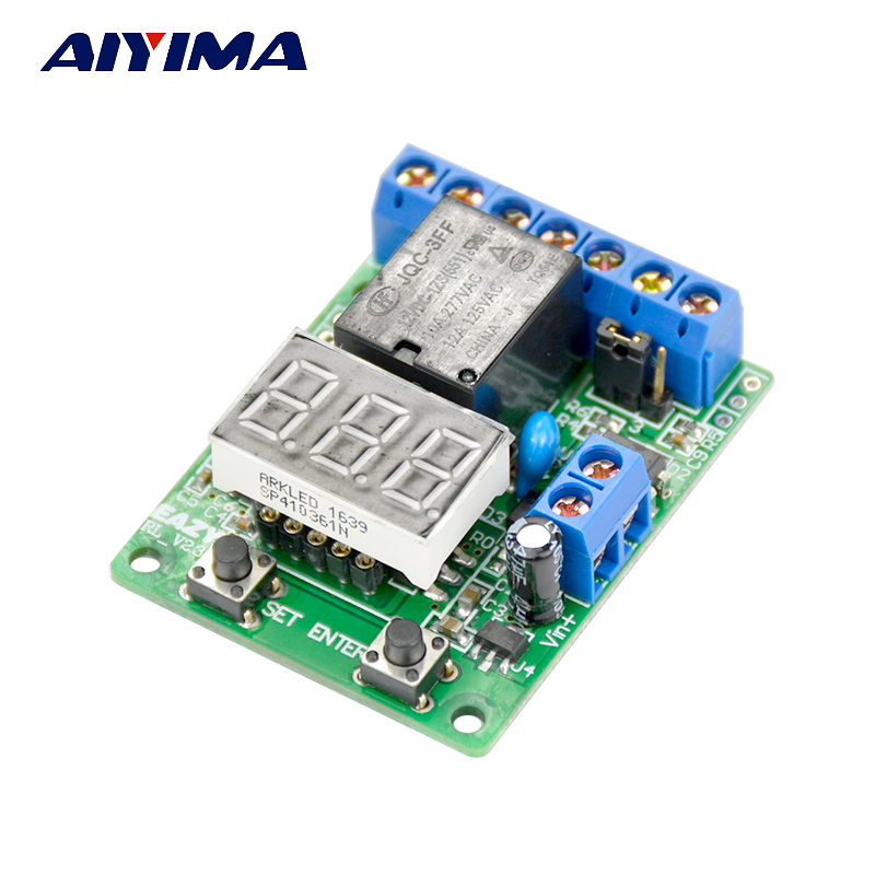 AIYIMA Digital Display Voltage Control Relay Timer Switch Overvoltage/Under Voltage Protection Battery Charge Discharge Timing charge protection device push button switch timer electronic automatic power down time timing switch socket