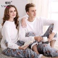 Winter Flannel Couples Matching Pajamas Adult Full Sleeve Pyjamas For Women Men Full Length Pajama Set