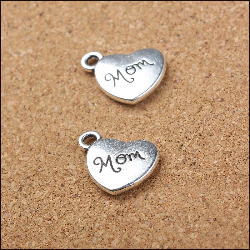 10 Teile/los Heißer Verkauf Hohe Qualität Antike Silber Herz Charme Buchstaben Mom Charms Anhänger Für Halskette Armband Schmuck Zubehör