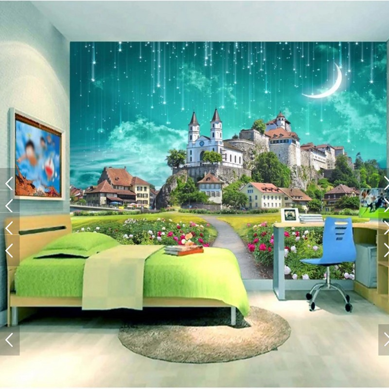 Custom 3d wallpape dream castle meteor shower children background wallpaper custom lobby living room bedroom hallway mural