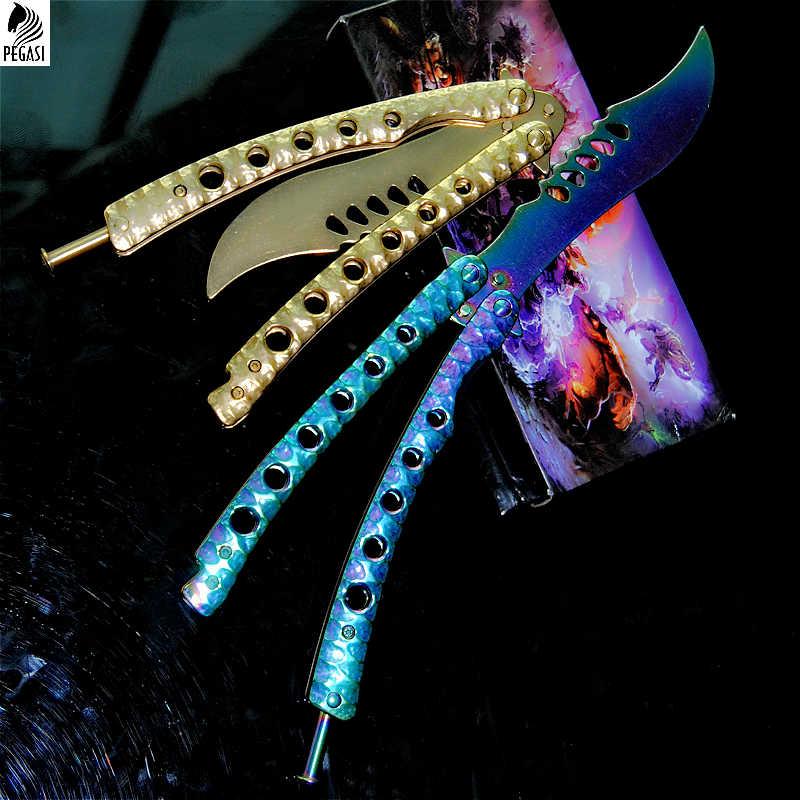 Тренировочный нож-бабочка из нержавеющей стали, Складной нож-бабочка из нержавеющей стали без острых углов