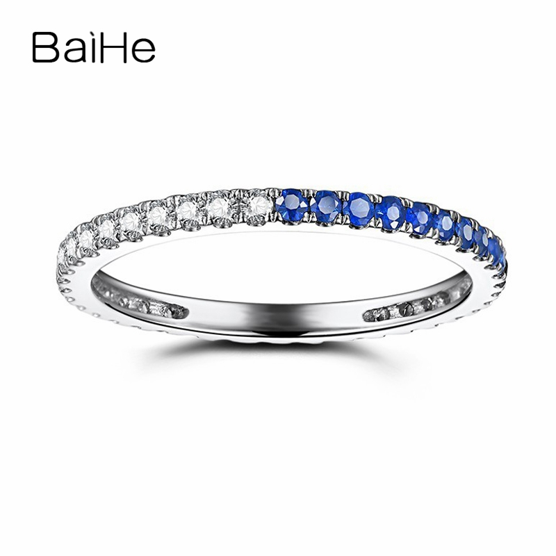 BAIHE Solid 18k White Gold(AU750) 0.41ct Natural Diamonds&Sapphires Party Anniversary Band Elegant Engagement Wedding Gift Ring 18k gold ring pair ring lovers couple simple and elegant male female solid au750 wedding engagement hot sale new trendy size7 18