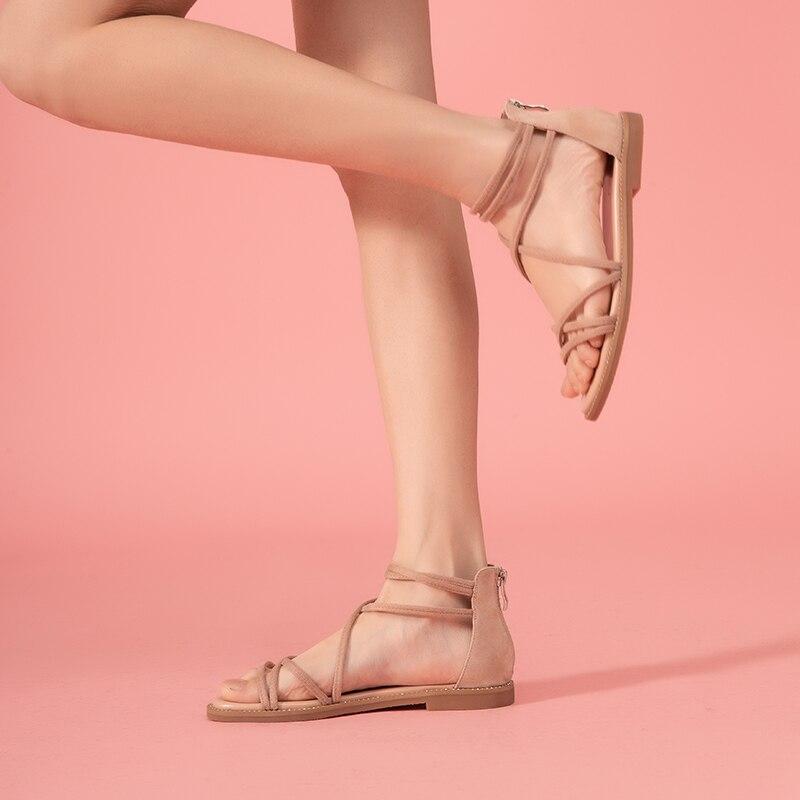 Image 4 - BeauToday Flat Sandals Women Kid Suede Leather Zipper Closure  Cross Tied Cover Heel Ladies Summer Beach Shoes 33008Low Heels   -