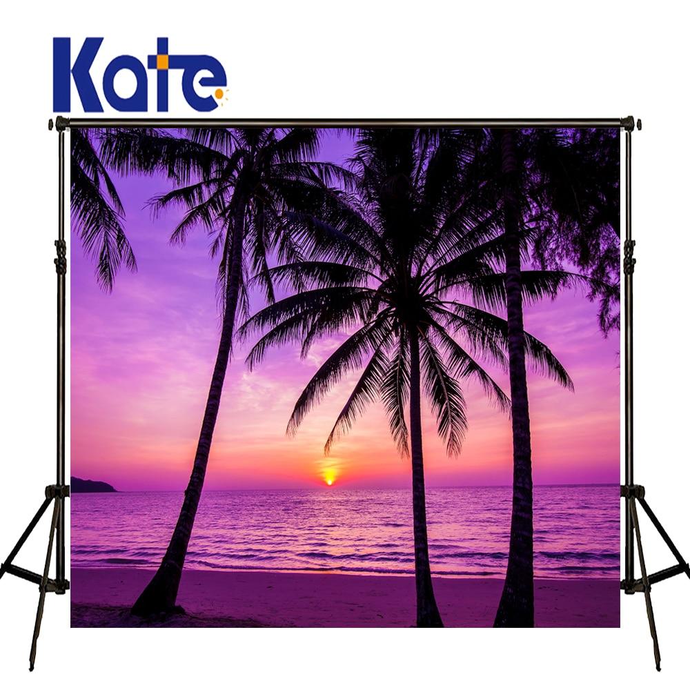 KATE 5x7ft fond de plage d'été violet coucher de soleil paysage décors cocotier décors de mariage en plein air pour Studio Photo