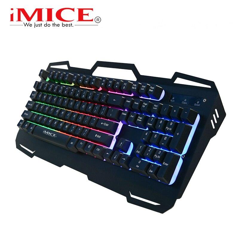 IMice Gaming Keyboard USB Wired Tastiera Retroilluminata Gamer Tastiere 104 Tasti del Pannello di Metallo Galleggiante Con Russo Inglese Per PC