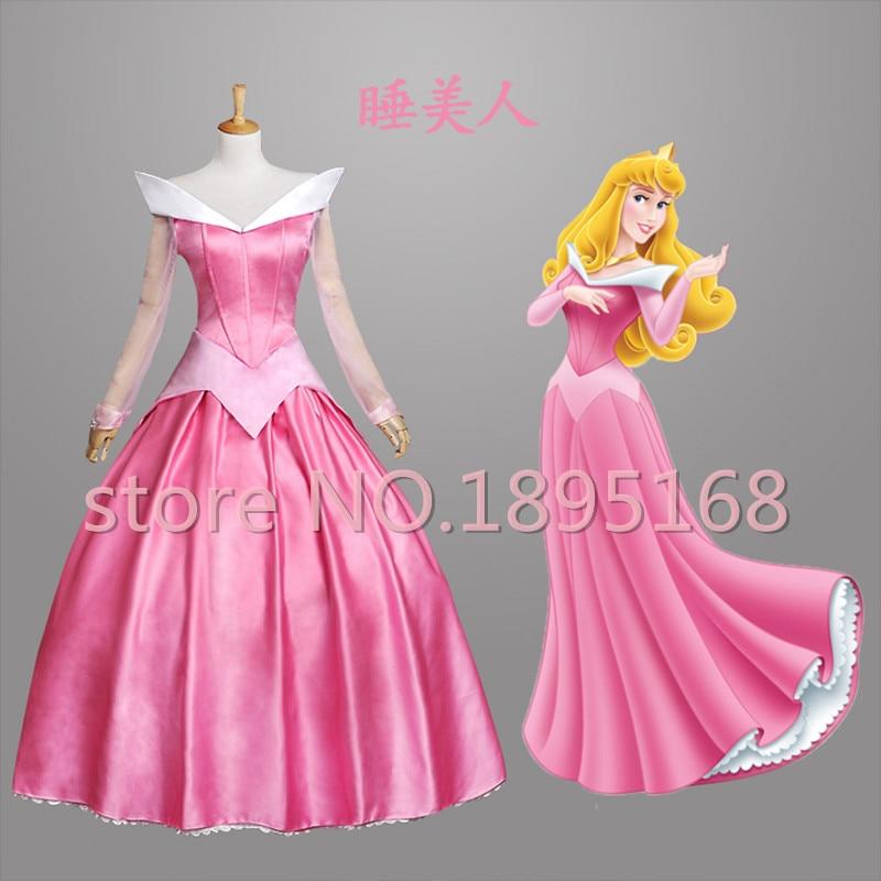 Adult Princess Peach Costume Sleeping Beauty Aurora Dress Women Fairy Cosplay Dress Princess Aurora Belle Costume S-XL