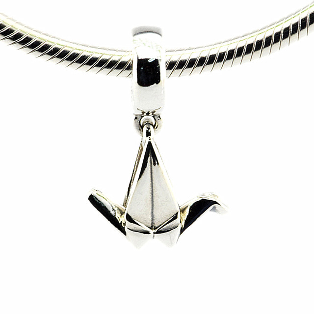 DIY Beaded Beads for Jewelry Making Origami Crane Silver Dangle Charm 100% 925 S