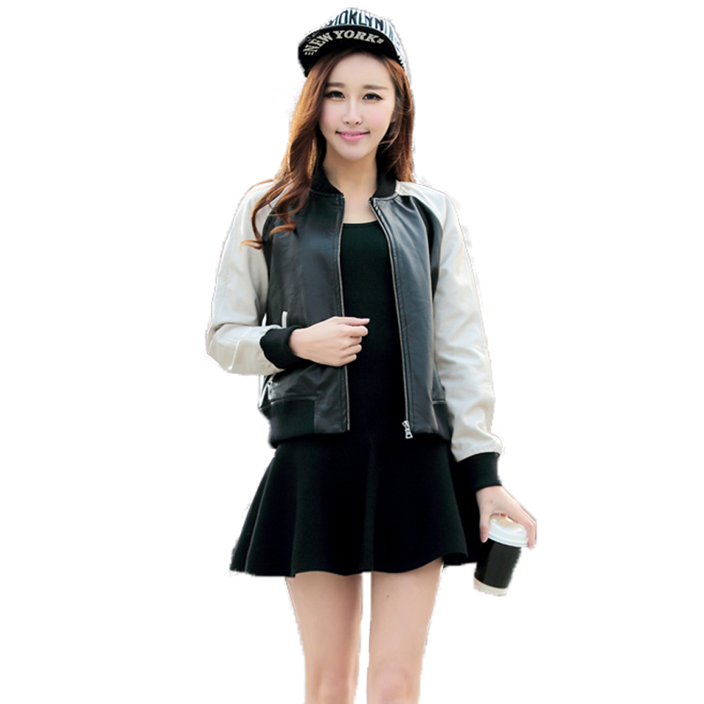 New Collection Black White   Leather   Jacket Women O-neck Long Sleeve PU   Suede   Biker Jacket