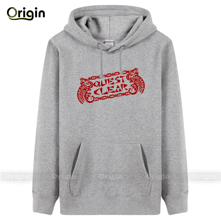 Man womens hoodies&sweatershirt Quest Clear thick fleece hoody game player fashion jacket black red XXXL boys Winter sweatshirts
