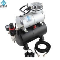OPHIR Portable Mini Air Compressor With Tank For Hobby Airbrush Car Wall Painting Cake Decoration 110V