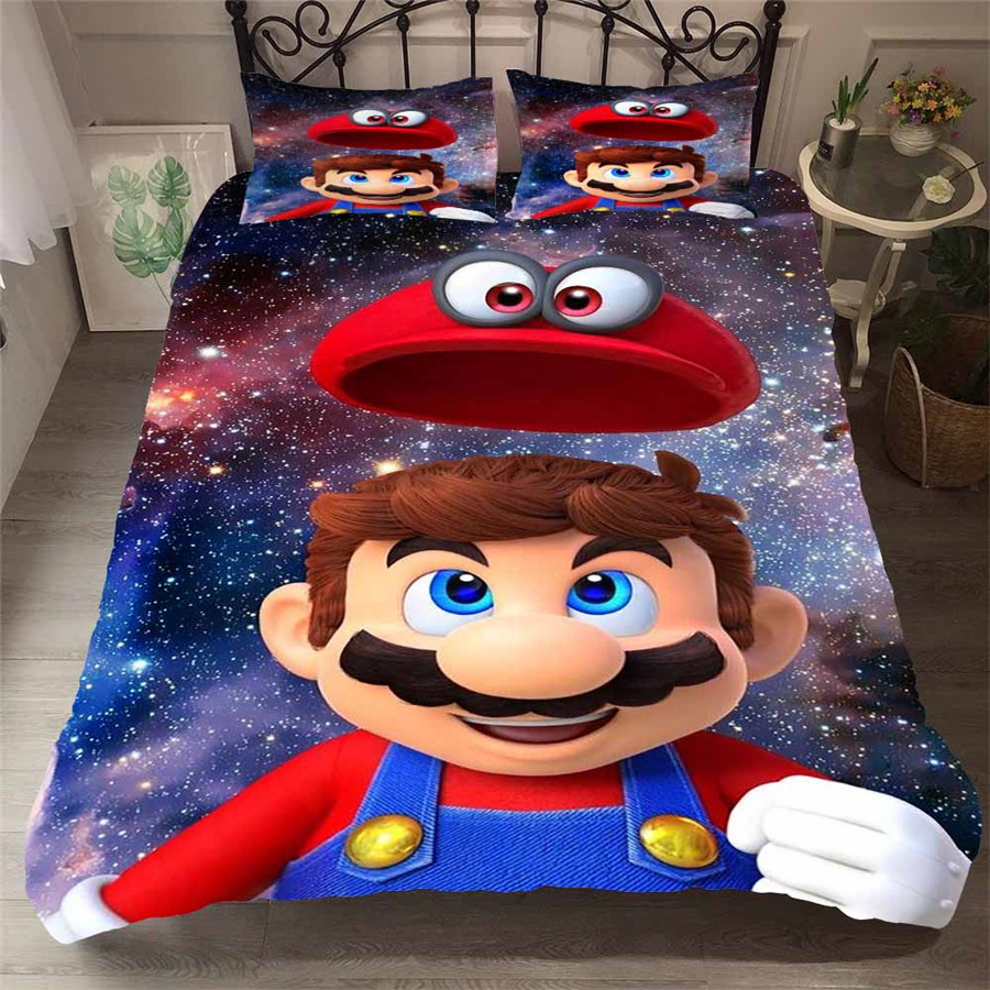 HELENGILI 3D Bedding Set Mario Print Duvet Cover Set Bedcloth with Pillowcase Bed Set Home Textiles #MLA-06HELENGILI 3D Bedding Set Mario Print Duvet Cover Set Bedcloth with Pillowcase Bed Set Home Textiles #MLA-06