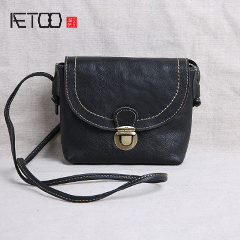 AETOO new mini female bag small leather leather simple retro leather shoulder bag Messenger bag jialante 2017 new lizard leather bag is made of simple small shell bag customized for 15 days