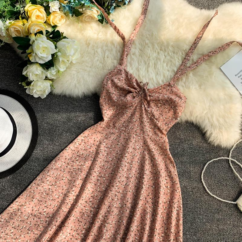 Holiday 2019 New Flower Print V-collar Drawstring High Waist Slim A-line Beach Dress Women Vestidos 23
