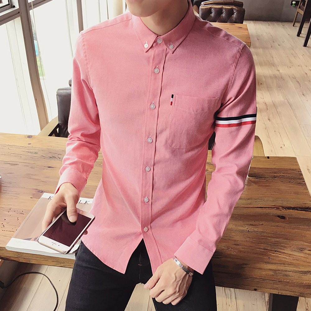 2017 New autumn men's casual tops brand shirt striped Strip decorate cotton men fashion solid color long sleeved Shirts M-XXXL 59