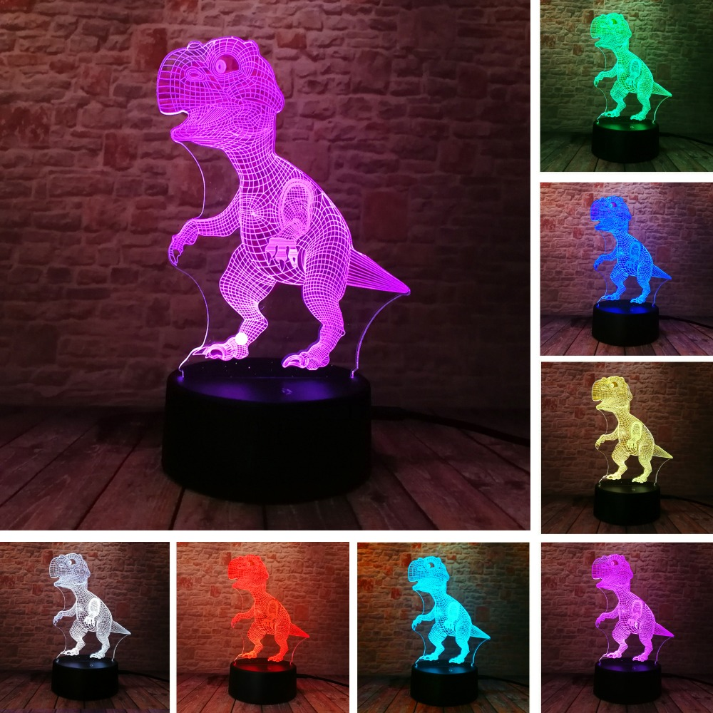 Neue Einzigartige Tyrannosaurus Rex Dinosaurier Drache 3D 7 Farbwechsel Visuelle RGB Nachtlicht Jungen Kind Mann Schlaf Urlaub Freund Gif