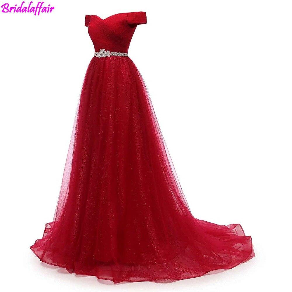 Women's A-line Tulle   Prom     Dresses   Off The Shoulder Formal   Dress   Elegant Burgundy Evening robe de bal 2019 formal   dress