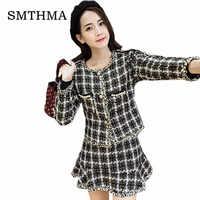 tweed Plaid jacket coat + autumn / winter women's New Fish tail Skirt suit ladies fashion 2 piece suit